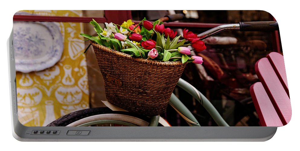 Bicycle Portable Battery Charger featuring the photograph Classic Bicycle With Tulips by Scott Hill
