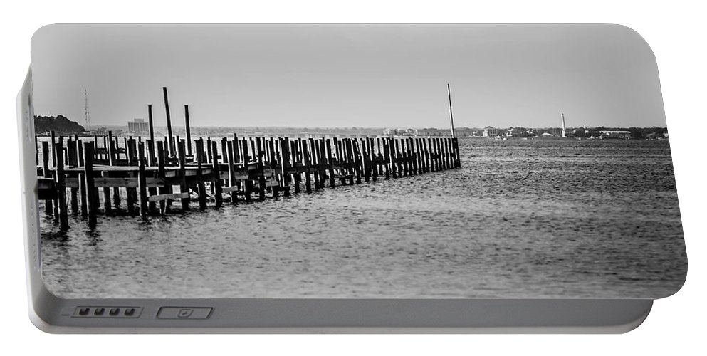 Abandoned Portable Battery Charger featuring the photograph Classic Black And White Pier Scene by Alex Grichenko