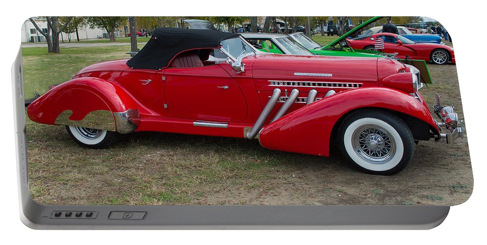 Auburn Portable Battery Charger featuring the photograph Auburn 1936 Roadster Classic Elegance by JG Thompson
