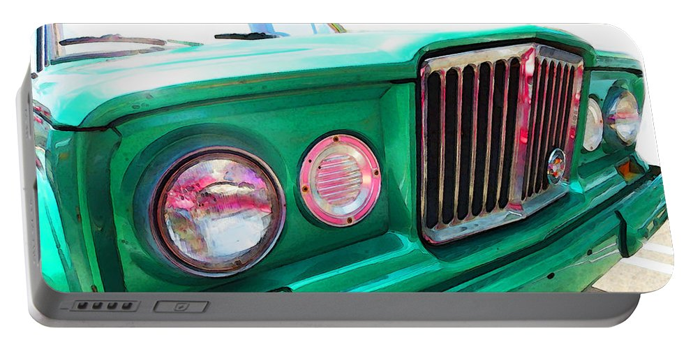 Jeep Portable Battery Charger featuring the painting Classic Jeep J3000 4 Wheel Drive By Sharon Cummings by Sharon Cummings