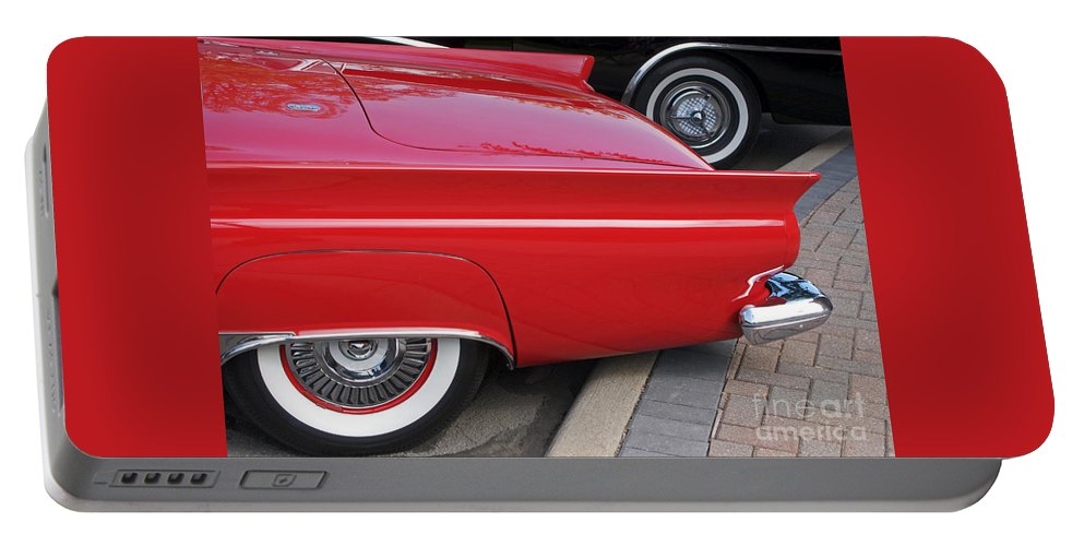 Classic Car Portable Battery Charger featuring the photograph Classic Red And Black by Ann Horn