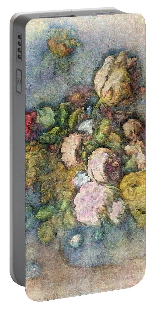 Flowers Portable Battery Charger featuring the digital art Classical Bouquet - V01c by Variance Collections