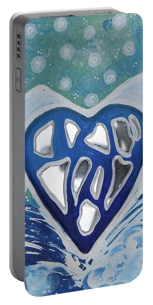 Energy Collection Portable Battery Charger featuring the painting Cleansed Heart Best Reflections Energy Collection by Catt Kyriacou