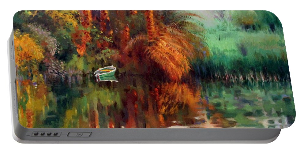 Boat Portable Battery Charger featuring the painting Clear by Ahmed Bayomi