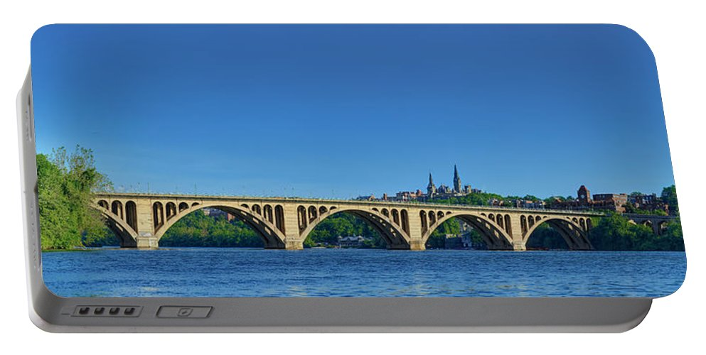 Metro Portable Battery Charger featuring the photograph Clear Blue Skies At Key Bridge by Metro DC Photography
