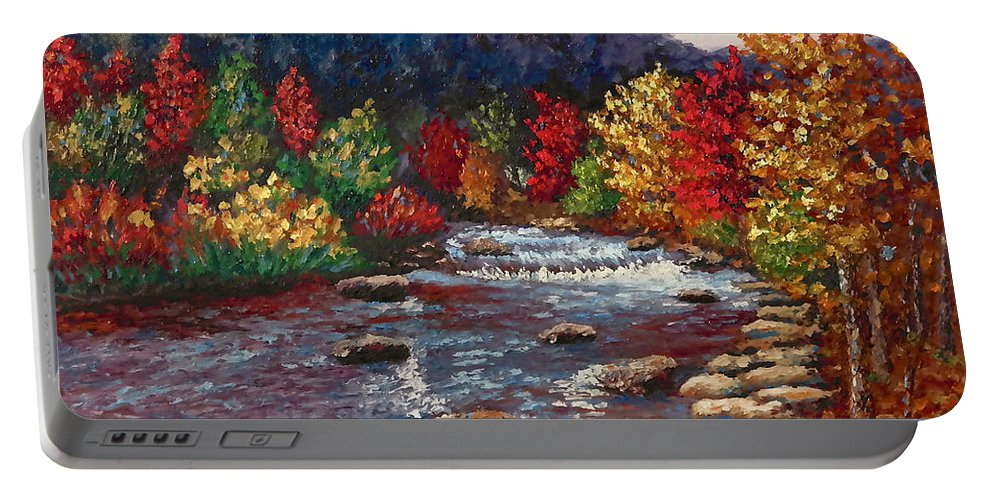 Landscape Portable Battery Charger featuring the painting Clear Creek In Golden Colorado by Francesca Kee