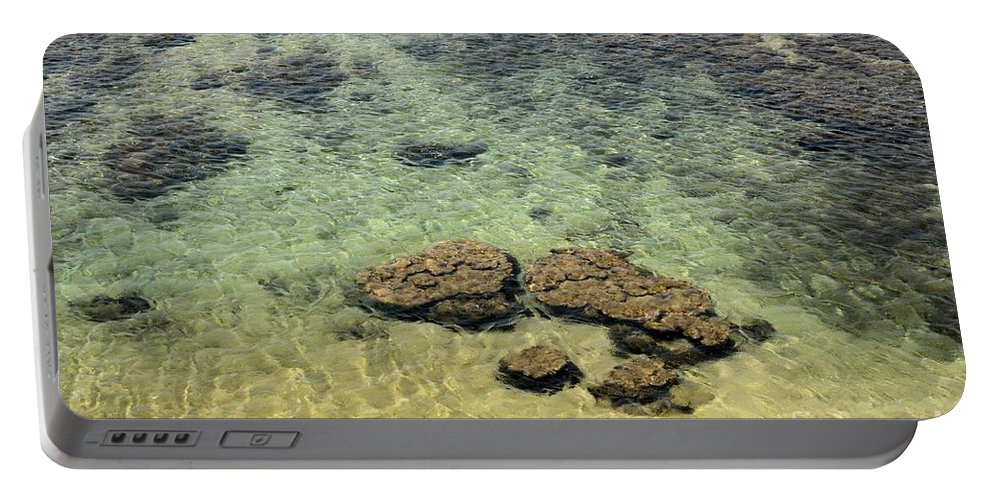Galle Portable Battery Charger featuring the photograph Clear Indian Ocean Water With Rocks At Galle Sri Lanka by Imran Ahmed
