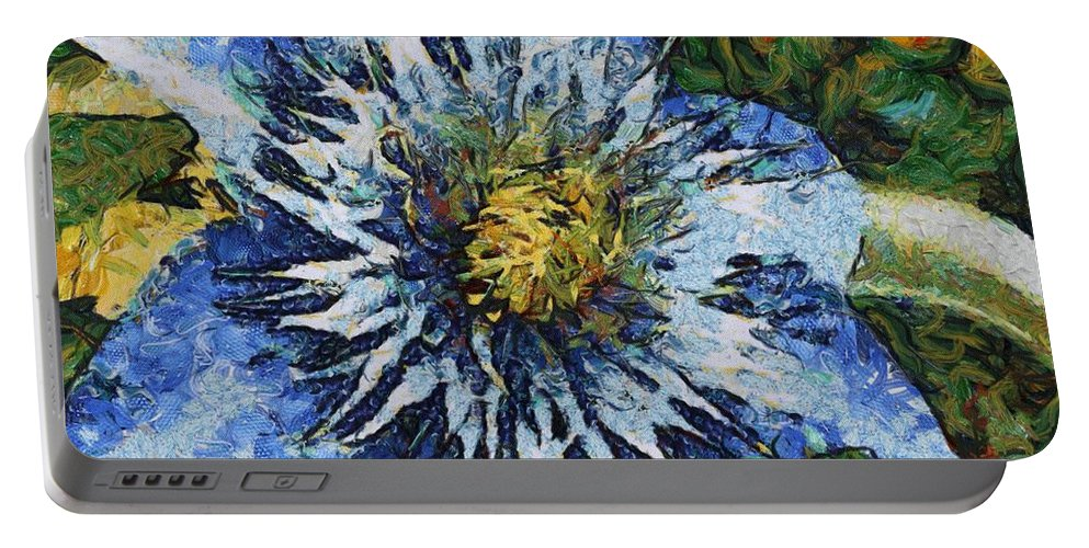 Bloom Portable Battery Charger featuring the painting Clematis by Jeffrey Kolker