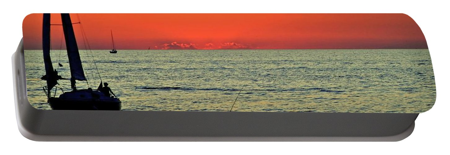 Spy Portable Battery Charger featuring the photograph Cleveland Lakefront by Frozen in Time Fine Art Photography