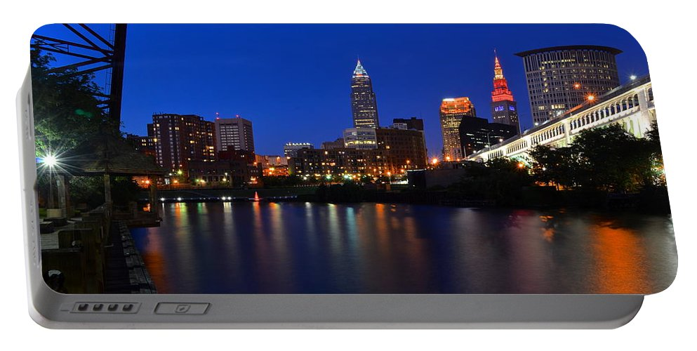 Panorama Portable Battery Charger featuring the photograph Cleveland Panorama by Frozen in Time Fine Art Photography