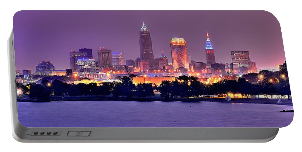 Cleveland Skyline Portable Battery Charger featuring the photograph Cleveland Skyline At Night Evening Panorama by Jon Holiday
