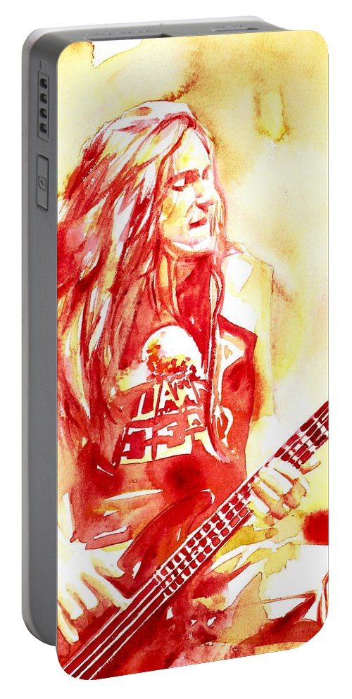 Cliff Portable Battery Charger featuring the painting Cliff Burton Playing Bass Guitar Portrait.1 by Fabrizio Cassetta