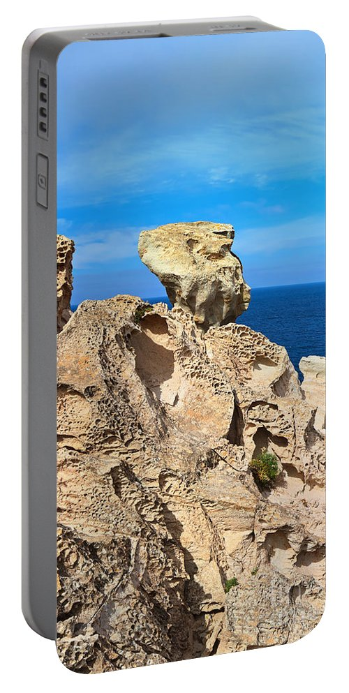 Beautiful Portable Battery Charger featuring the photograph cliff in San Pietro island by Antonio Scarpi