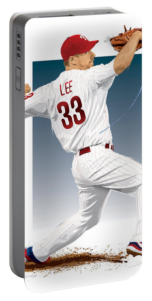Cliff Lee Portable Battery Charger featuring the digital art Cliff Lee by Scott Weigner