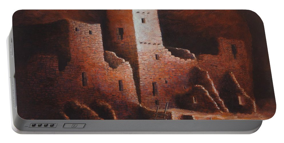 Anasazi Portable Battery Charger featuring the painting Cliff Palace by Jerry McElroy