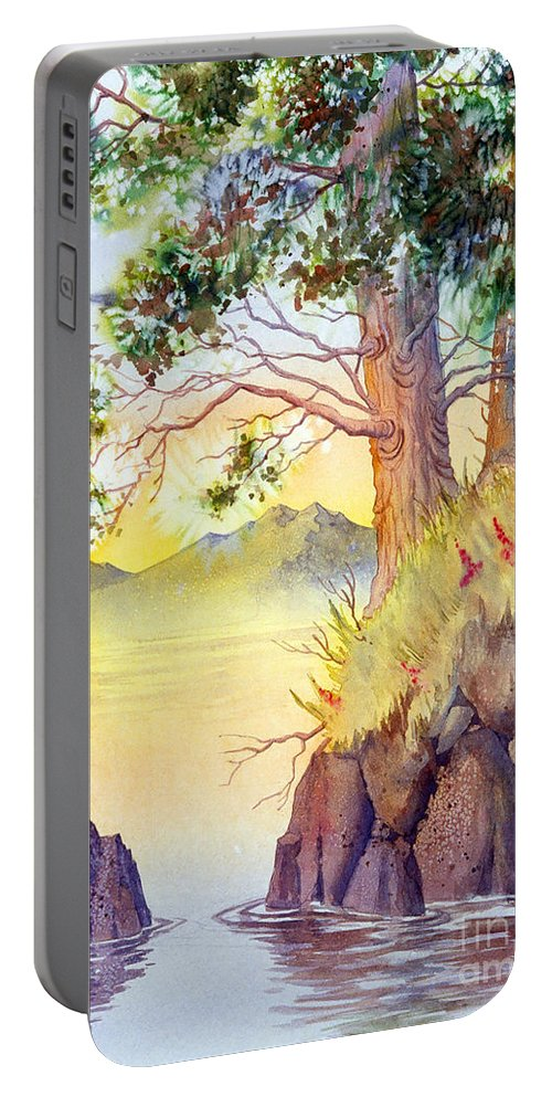 Shoreline Portable Battery Charger featuring the painting Cliff Trees by Teresa Ascone