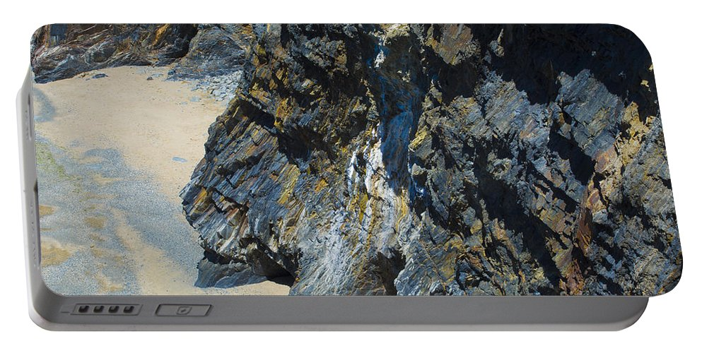 Cliff Portable Battery Charger featuring the photograph Cliffs Of Pembrokeshire by Mair Hunt