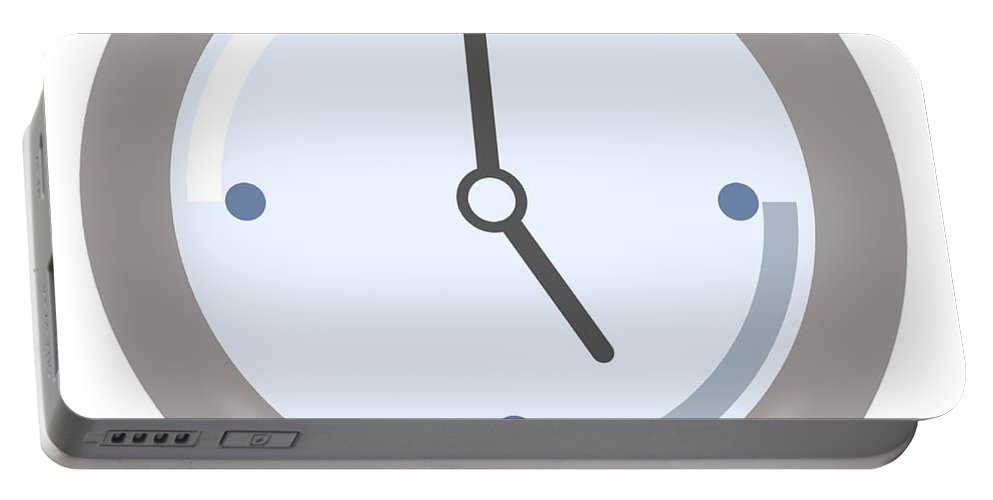 Clock Portable Battery Charger featuring the digital art Clock Five by Henrik Lehnerer