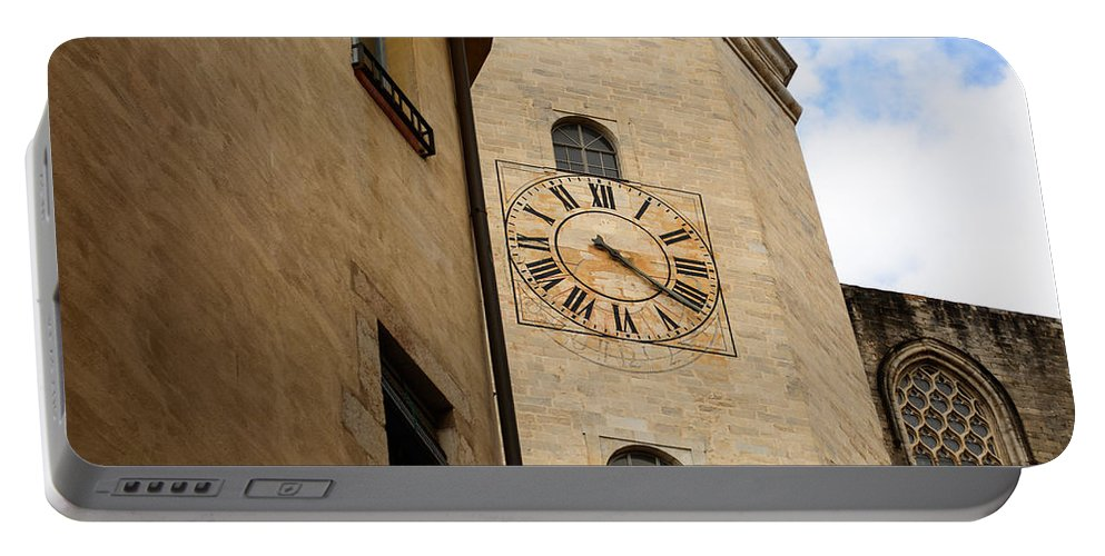 Church Clock Portable Battery Charger featuring the photograph Clock Front by Mair Hunt