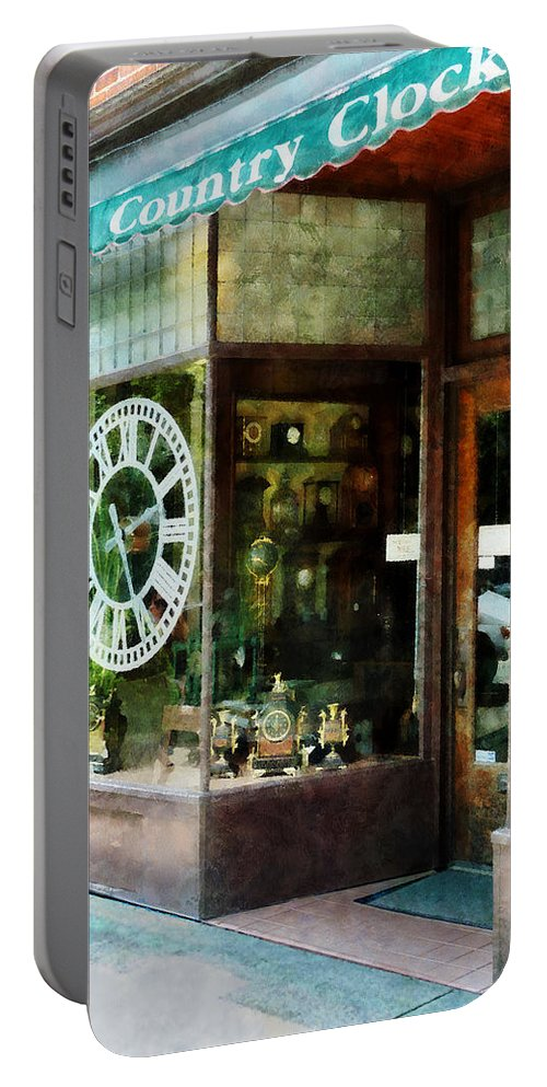 Clock Portable Battery Charger featuring the photograph Clock Shop by Susan Savad
