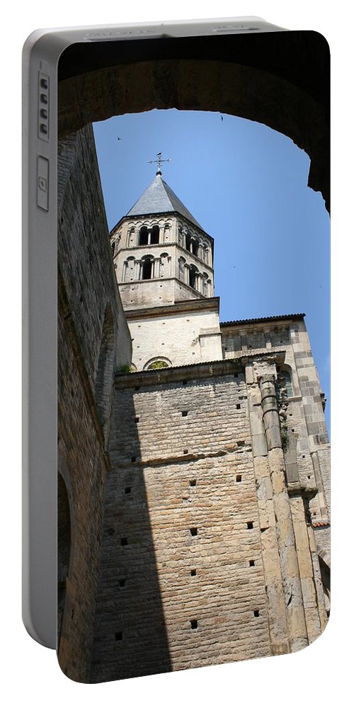 Cloister Portable Battery Charger featuring the photograph Cloister Cluny Church Steeple by Christiane Schulze Art And Photography