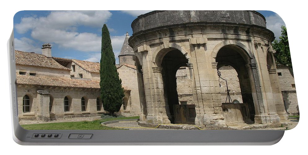 Fountain Portable Battery Charger featuring the photograph Cloister Of Saint John Chartreuse Du Val De Benediction by Christiane Schulze Art And Photography