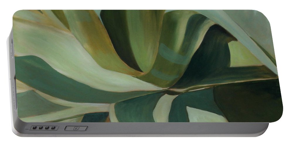 Cactus Portable Battery Charger featuring the painting Close Cactus by Debbie Hart