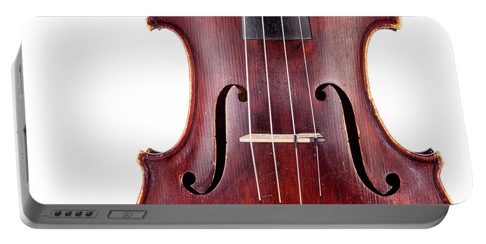 Symphony Orchestra Portable Battery Charger featuring the photograph Close Up Of A Violine by Chevy Fleet