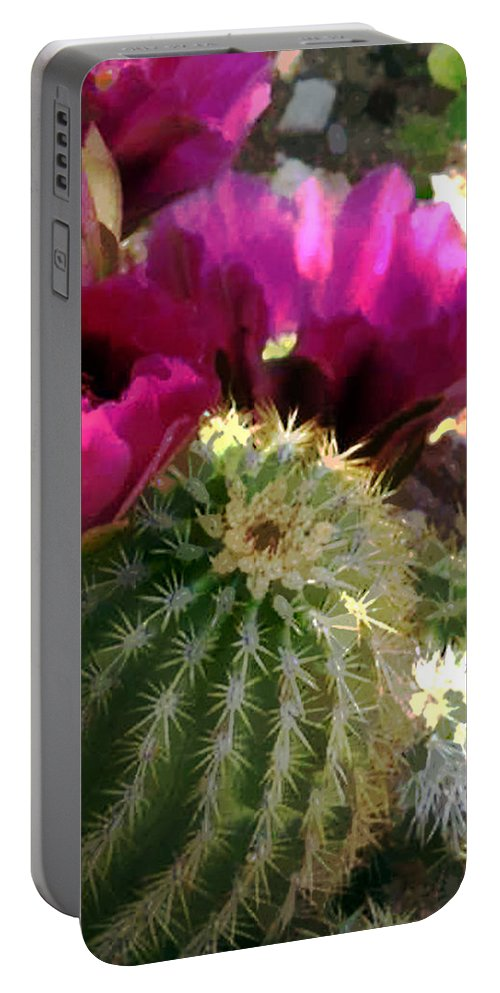 Cactus Portable Battery Charger featuring the painting Close Up Of Pink Cactus Flowers by Elaine Plesser