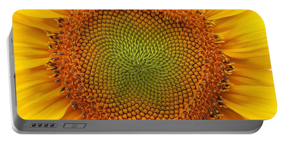 Sunflower Portable Battery Charger featuring the photograph Closeup Of Sunflower by Alan Hutchins