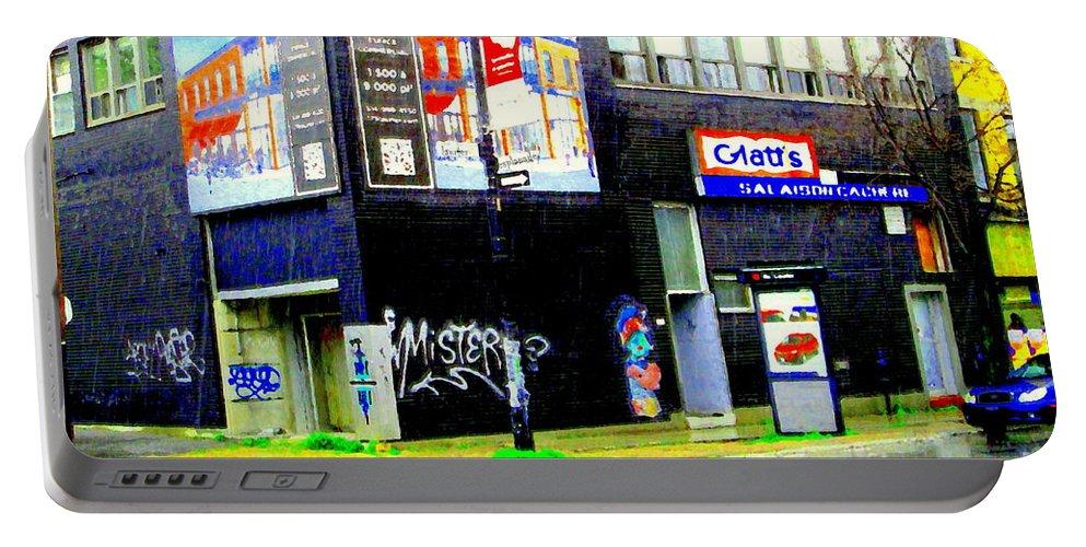 Rain Portable Battery Charger featuring the painting Closing Time Montreal Factory Glatts Produits Quebec Meats Graffiti Art City Scenes Carole Spandau by Carole Spandau