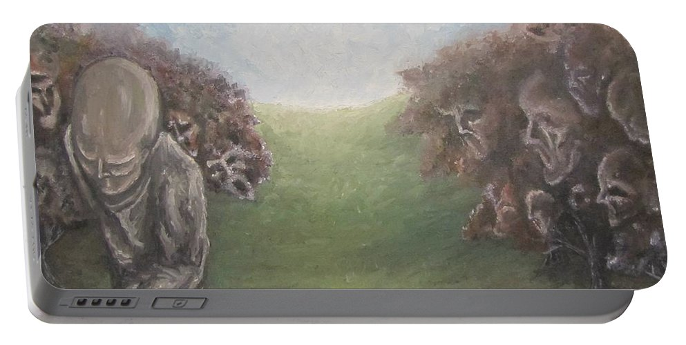 Tmad Portable Battery Charger featuring the painting Closure by Michael TMAD Finney