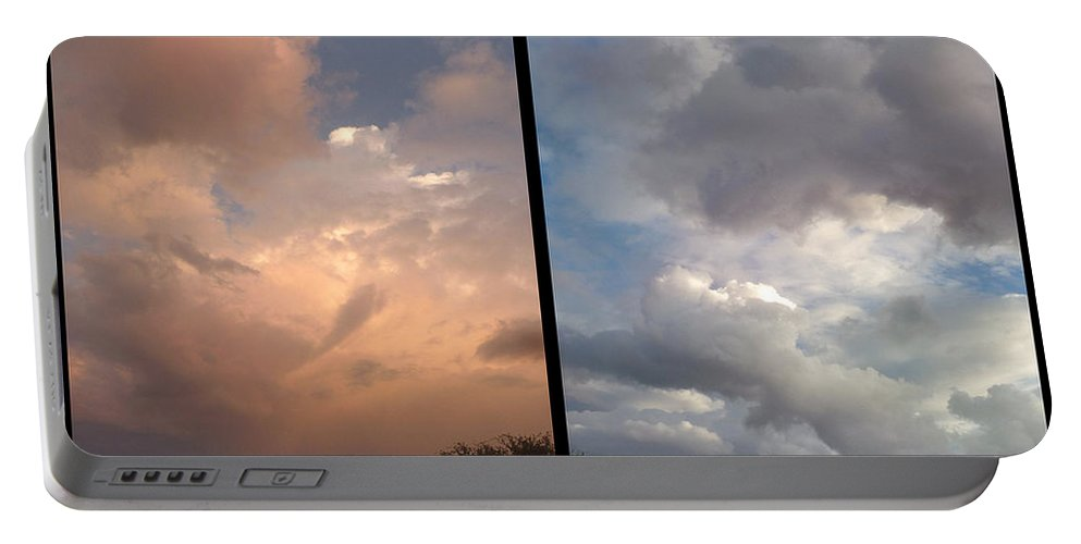 Clouds Portable Battery Charger featuring the photograph Cloud Diptych by James W Johnson
