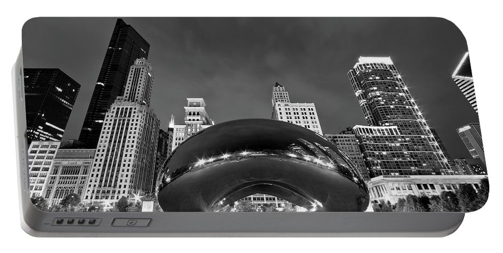 3scape Portable Battery Charger featuring the photograph Cloud Gate and Skyline by Adam Romanowicz