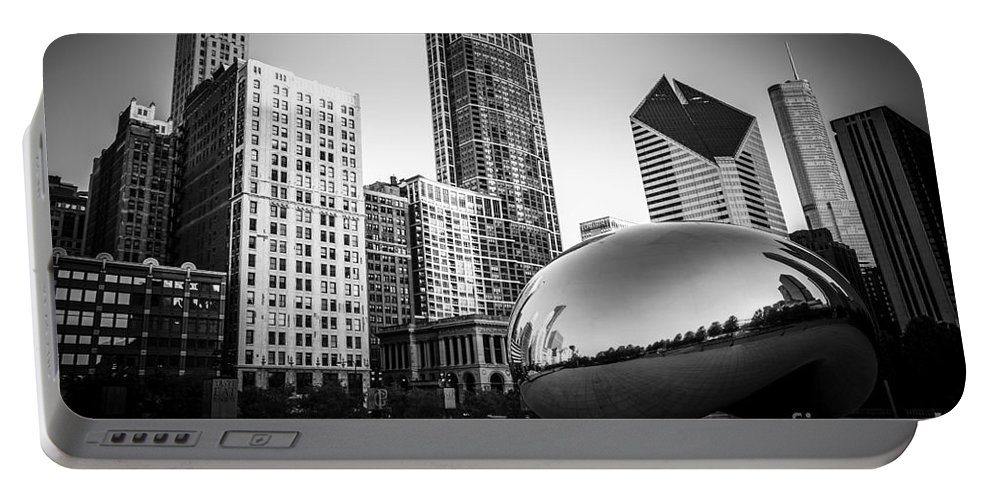 America Portable Battery Charger featuring the photograph Cloud Gate Bean Chicago Skyline in Black and White by Paul Velgos