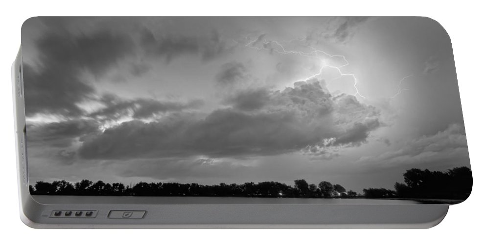 Lightning Portable Battery Charger featuring the photograph Cloud To Cloud Lake Lightning Strike In Bw by James BO Insogna