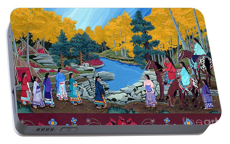 America Portable Battery Charger featuring the painting Cloud Women At Thunderbird Mountain by Chholing Taha