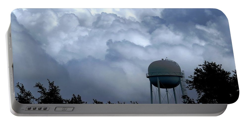Clouds Portable Battery Charger featuring the photograph Clouds Around The Water Tower by Zina Stromberg