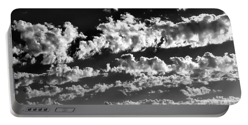 Black And White Photo Portable Battery Charger featuring the digital art Clouds Of Freycinet Bw by Tim Richards