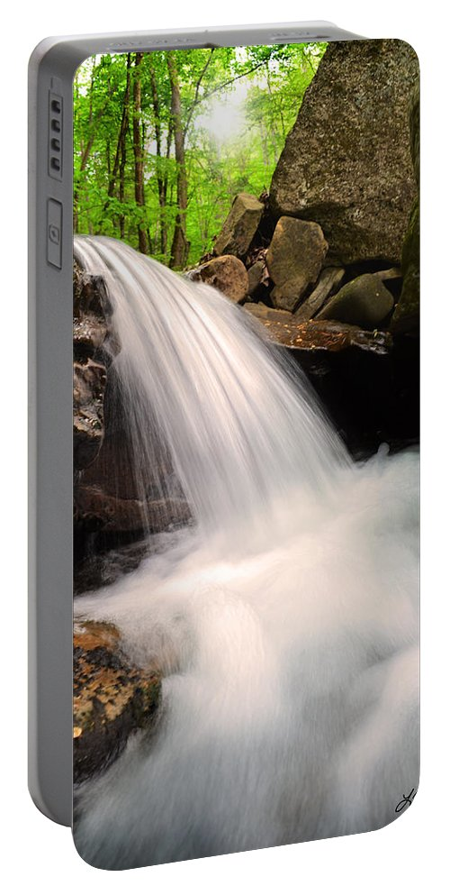 Waterfall Portable Battery Charger featuring the photograph Clouds On The Creek by Lj Lambert