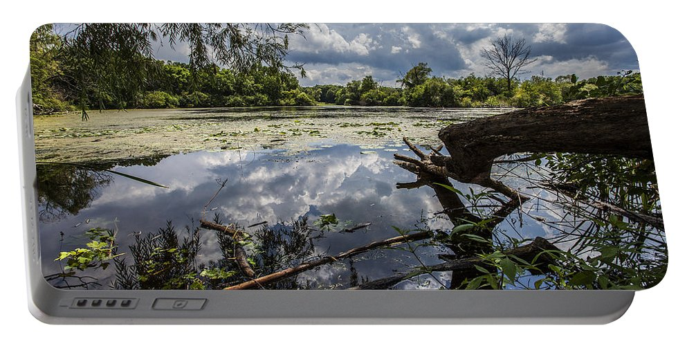 Www.cjschmit.com Portable Battery Charger featuring the photograph Clouds On The Water by CJ Schmit