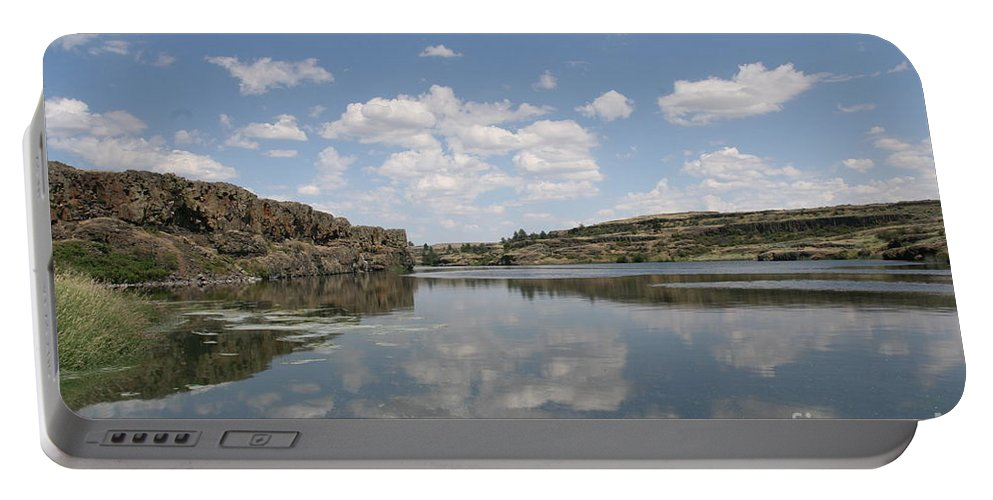 Lake Portable Battery Charger featuring the photograph Clouds On Water by Rich Collins