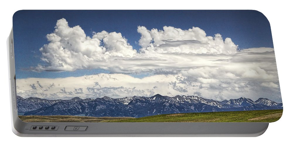 Art Portable Battery Charger featuring the photograph Clouds Over A Mountain Range In Montana by Randall Nyhof