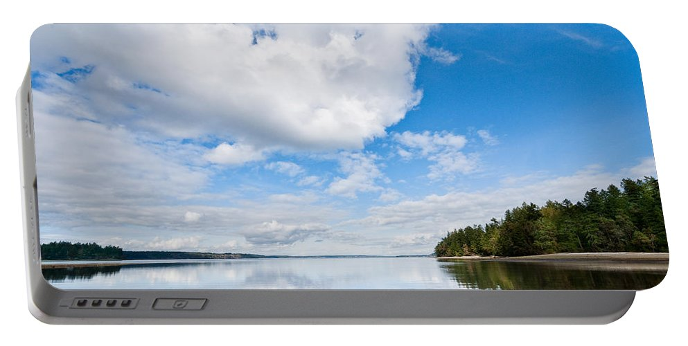 Bay Portable Battery Charger featuring the photograph Clouds Reflected In Puget Sound by Jeff Goulden