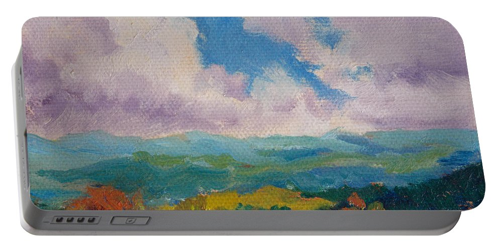 Impressionism Portable Battery Charger featuring the painting Cloudscape 1 by Keith Burgess
