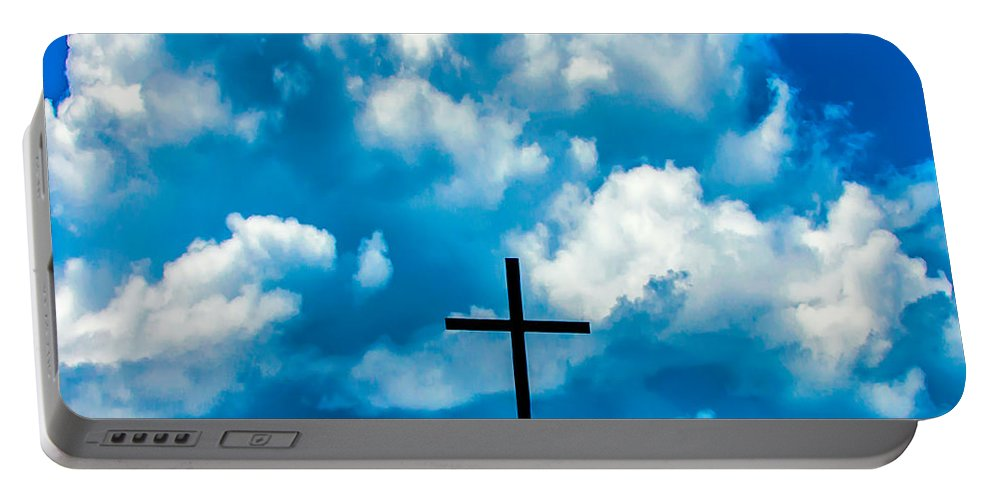 Cross Portable Battery Charger featuring the photograph Cloudy Cross by Alex Hiemstra