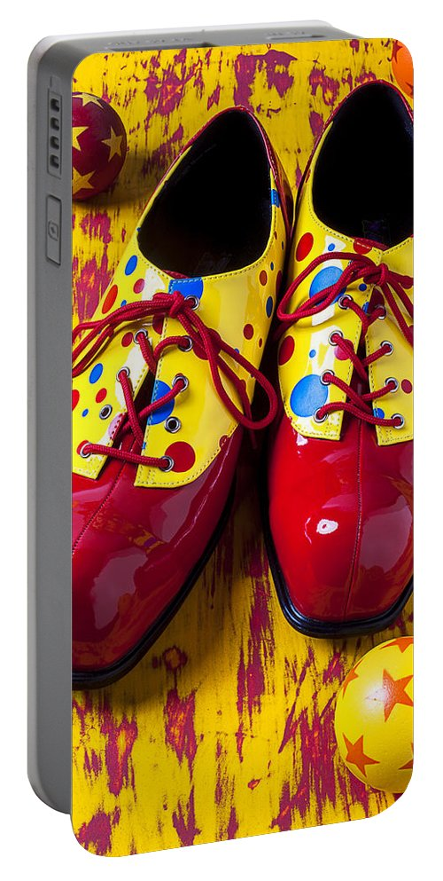 Clown Portable Battery Charger featuring the photograph Clown Shoes And Balls by Garry Gay