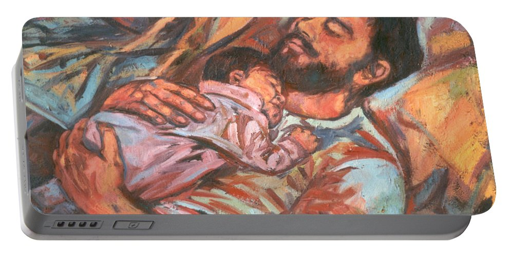 Figure Portable Battery Charger featuring the painting Clyde And Alan by Kendall Kessler