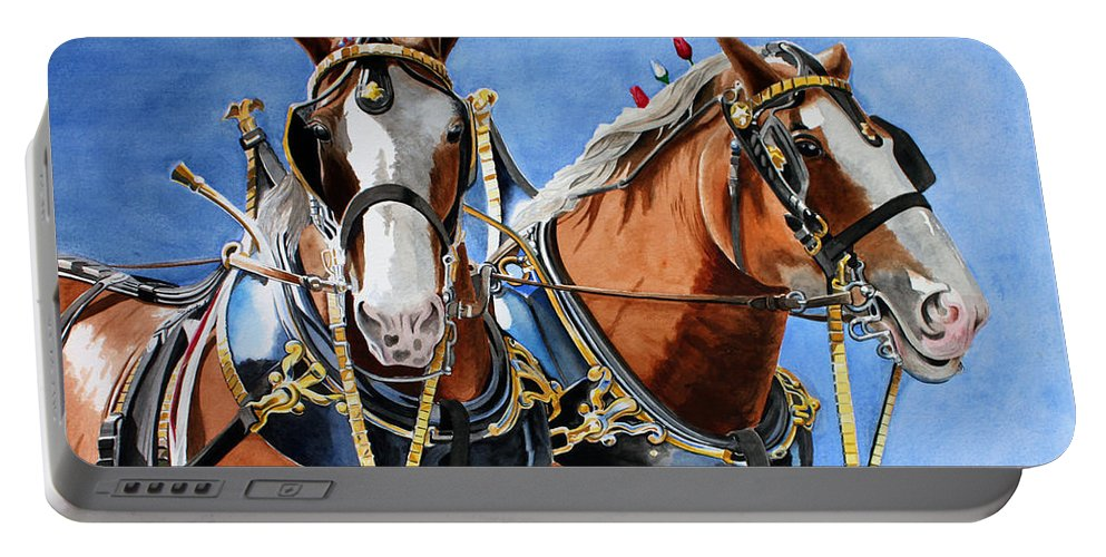 Horses Portable Battery Charger featuring the painting Clydesdale Duo by Debbie Hart