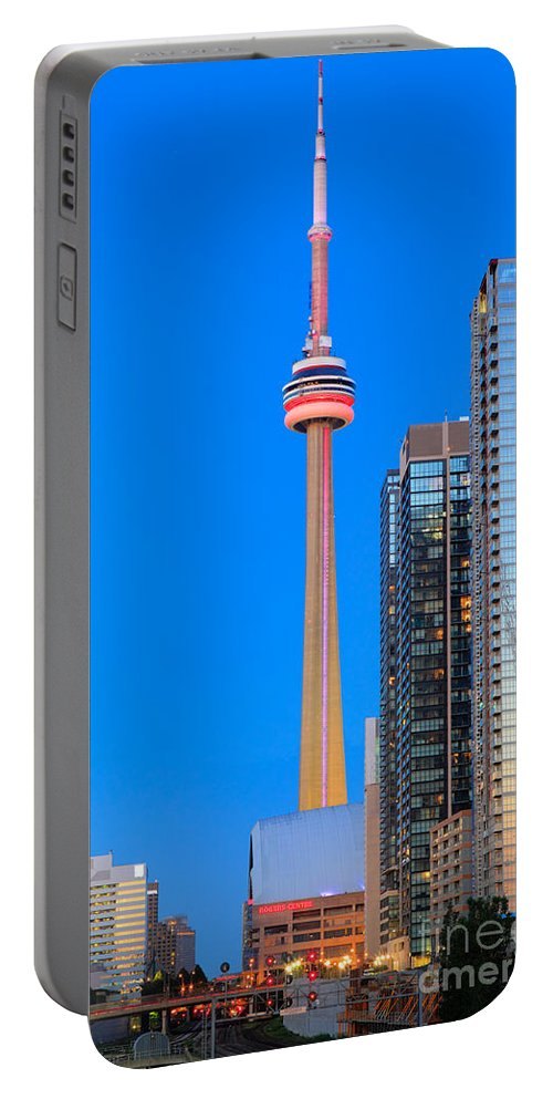 America Portable Battery Charger featuring the photograph Cn Tower By Night by Inge Johnsson